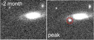 Vorher-Nachher-Bilder der rasch heller werdenden Supernova, die von der K2-Mission entdeckt wurde. (Credits: Rest et al. 2018 and DECam / CTIO 4-meter)