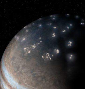 Künstlerische Darstellung der Blitzverteilung in Jupiters nördlicher Hemisphäre, basierend auf einer Aufnahme der JunoCam mit künstlerischen Verschönerungen. (Credits: NASA / JPL-Caltech / SwRI / JunoCam)