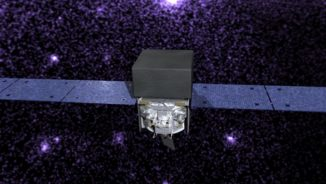 Illustration des Fermi Gamma-ray Space Telescope, das den Himmel im Gammastrahlenbereich beobachtet. (Credit: NASA's Goddard Space Flight Center / Conceptual Image Lab)