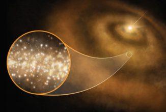 Künstlerische Darstellung von Nanodiamanten in der protoplanetaren Scheibe eines jungen Sterns in der Milchstraßen-Galaxie. (Credit: S. Dagnello, NRAO / AUI / NSF)