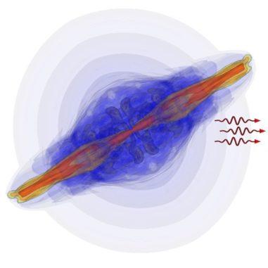 Computersimulation eines kurzen Gammablitzes. (Credit: Oregon State University)
