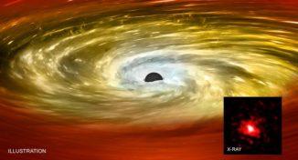 Künstlerische Darstellung des Schwarzen Lochs in einer Red-Nugget-Galaxie (großes Bild) und ein Bild basierend auf Röntgendaten von Chandra (kleines Bild). (Credits: X-ray: NASA / CXC / MTA-Eötvös University / N. Werner et al.; Illustration: NASA / CXC / M.Weiss)