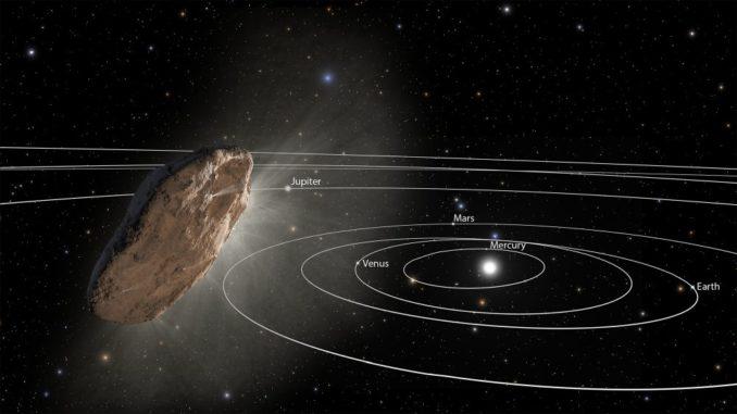 Diese Illustration zeigt das Objekt 'Oumuamua, wie es in die Randbereiche unseres Sonnensystems fliegt. (Credits: NASA / ESA / STScI)