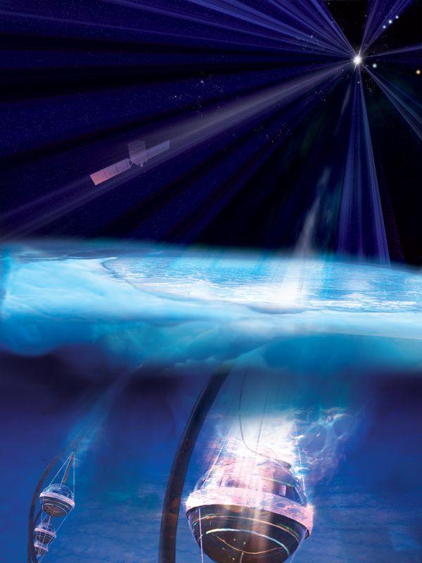 Das Weltraumteleskop Fermi (oben) hat ein massereiches Schwarzes Loch in einer fernen Galaxie als die Quelle eines hochenergetischen Neutrinos identifiziert, das von den Sensoren des IceCube Observatory (unten) am Südpol registriert wurde. (Credits: NASA / Fermi and Aurore Simonnet, Sonoma State University)
