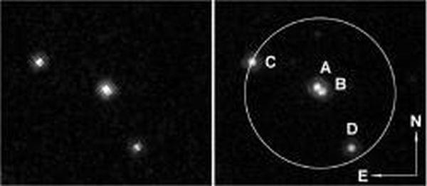 Hubble-Aufnahme einer Mikrogravitationslinse. Das Bild links wurde 3,7 Jahre nach einem Mikrogravitationslinsenereignis aufgenommen. Das rechte Bild entstand 8,9 Jahre nachdem die sich bewegende Mikrogravitationslinse im Vordergrund ihre Position verändert hatte. Die Linse und deren Komponenten (A und B) sind in dem späteren Bild klar aufgelöst. (Credit: NASA / Hubble)