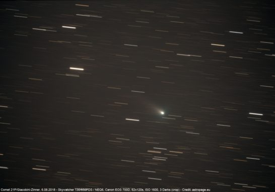 Der Komet 21P/Giacobini-Zinner am 6. August 2018. (Credits: astropage.eu)