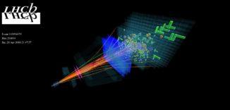 Darstellung eines Ereignisses bei einer Proton-Proton-Kollision, das vom LHCb-Detektor Anfang des Jahres registriert wurde. (Credits: Image: LHCb / CERN)