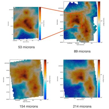 Diese Bilder zeigen die Intensität der Magnetfelder und den Staub in 30 Doradus basierend auf SOFIA-Beobachtungen in verschiedenen Wellenlängen. (Credits: NASA / SOFIA)