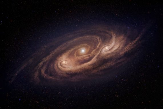 Künstlerische Darstellung der Galaxie COSMOS-AzTEC-1 mit den beiden beobachteten Molekülwolken abseits des Zentrums. (Credit: National Astronomical Observatory of Japan)