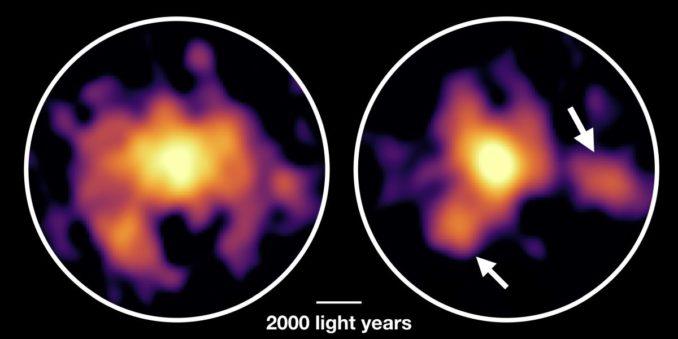 Die Galaxie COSMOS-AzTEC-1, basierend auf ALMA-Beobachtungen. Links ist die Verteilung des molekularen Gases zu sehen, rechts die der Staubteilchen. (Credits: ALMA (ESO / NAOJ / NRAO), Tadaki et al.)