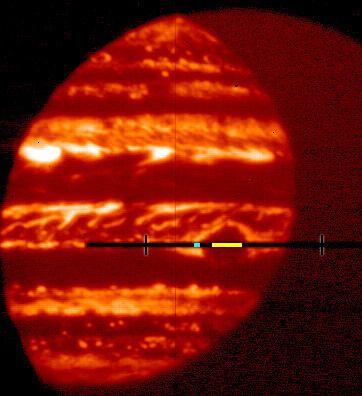 Auf diesem Infrarotbild ist der Große Rote Fleck als dunkles Gebiet in der Mitte Jupiters zu sehen. Er ist dunkel, weil die dichten Wolken innerhalb des Großen Roten Flecks die Wärmestrahlung blockieren. Der gelbe Streifen markiert den in der Analyse genutzten Bereich. (Credits: NASA's Goddard Space Flight Center / Gordon Bjoraker)