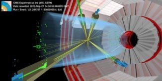 Schematische Grafik einer Proton-Proton-Kollision mit zwei Kandidaten für auftauchende Jets. (Credits: CMS / CERN)