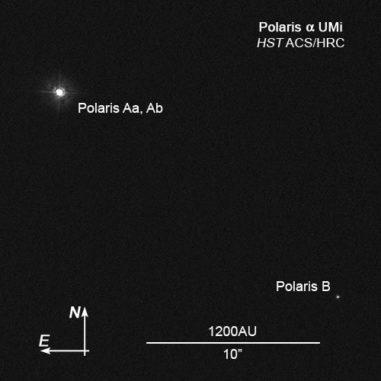 Das Dreifachsystem mit Polaris Aa, Polaris Ab und Polaris B, aufgenommen vom Weltraumteleskop Hubble. (Credits: NASA, ESA, N. Evans (Harvard-Smithsonian CfA), and H. Bond (STScI))