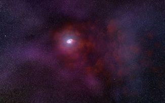 Künstlerische Darstellung eines Pulsarwindnebels, der durch die Wechselwirkung des Pulsarwindes von dem Neutronenstern mit dem Gas des interstellaren Mediums entsteht. (Credits: NASA, ESA, and N. Tr'Ehnl (Pennsylvania State University))