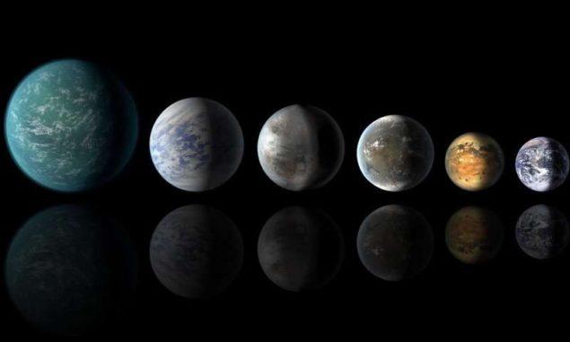 Künstlerische Darstellung von Exoplaneten, deren Größen ungefähr mit der Größe der Erde vergleichbar sind. (Credits: NASA)