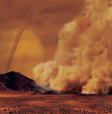 Künstlerische Darstellung eines Staubsturms auf dem Saturnmond Titan. (Credits: IPGP / Labex UnivEarthS / University Paris Diderot – C. Epitalon & S. Rodriguez)