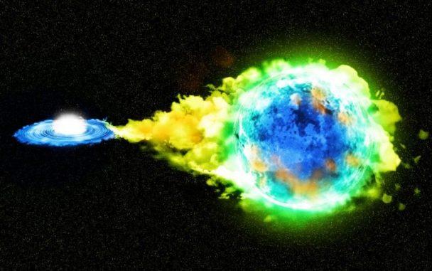 Künstlerische Darstellung eines Doppelsternsystems mit einem Weißen Zwerg (links), der Materie von einem Begleitstern (rechts) abzieht, bis er die Chandrasekhar-Grenze erreicht und als Typ-Ia-Supernova explodiert. (Credit: Kavli IPMU)