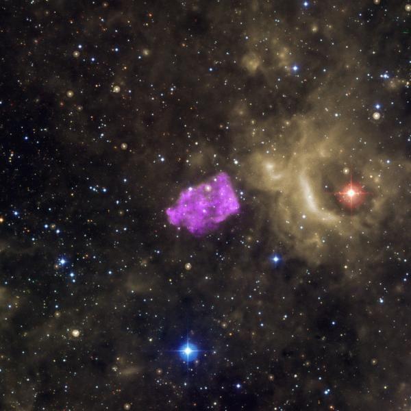 Der Supernova-Überrest 3C 397, basierend auf Daten, die in optischen, infraroten und Röntgenwellenlängen gesammelt wurden. (Credits: X-ray: NASA / CXC / Univ of Manitoba / S.Safi-Harb et al, Optical: DSS, Infrared: NASA / JPL-Caltech))