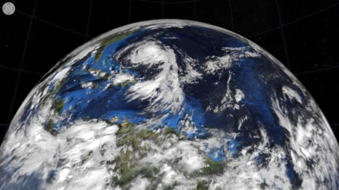 Screenshot aus dem unten eingebundenen Video, das eine 3D-Ansicht des Hurrikans Maria zeigt. (Credits: NASA's Goddard Space Flight Center)