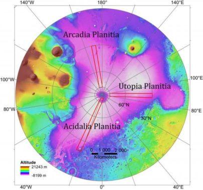 Diese Grafik zeigt die untersuchten Gebiete der nördlichen Polarebenen auf dem Mars als rot umrandete Kästchen. (Credits: Planetary Science Institute)