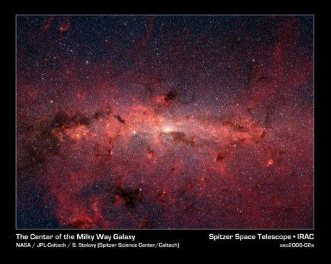 Die Zentralbereiche der Milchstraßen-Galaxie, aufgenommen vom Weltraumteleskop Spitzer. (Credits: NASA, JPL-Caltech, Susan Stolovy (SSC / Caltech) et al.)