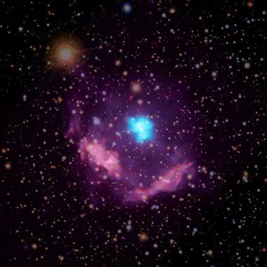 Der Supernova-Überrest Kes 75, basierend auf Röntgendaten von Chandra und optischen Daten. (Credits: X-ray: NASA / CXC / NCSU / S. Reynolds; Optical: PanSTARRS)