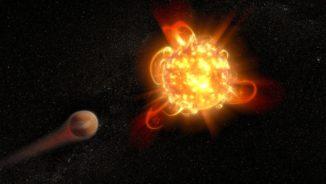 Künstlerische Darstellung von Flares auf einem jungen roten Zwergstern, die die Atmosphäre eines nahen Planeten wegfegen. (Credits: NASA, ESA and D. Player (STScI))
