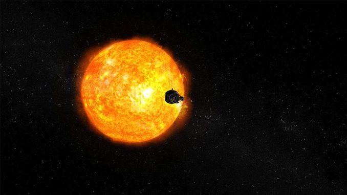Künstlerische Darstellung der Parker Solar Probe auf ihrem Weg zur Sonne. (Credits: NASA / JHUAPL)