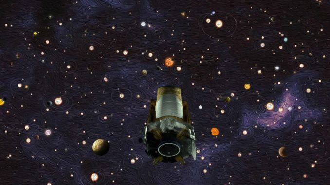 Diese Illustration zeigt das Weltraumteleskop Kepler bei der Suche nach Exoplaneten. (Credits: NASA / Wendy Stenzel / Daniel Rutter)