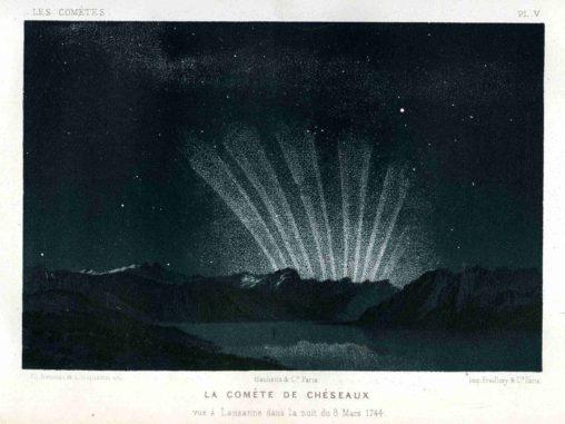 Eine Zeichnung der sechs Schweife des Großen Kometen von 1744, beobachtet vor dem Sonnenaufgang am 9. März 1744 von Amédée Guillemin. (Credits: Paris Observatory)