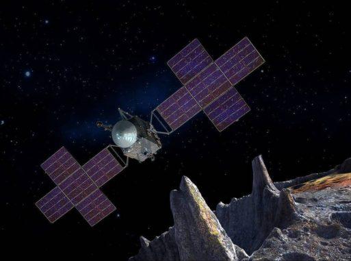 Künstlerische Darstellung der NASA-Mission Psyche in der Nähe des Missionsziels, dem Asteroiden Psyche. (Credits: NASA / JPL-Caltech / Arizona State Univ. / Space Systems Loral / Peter Rubin)