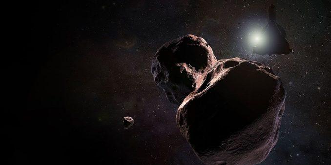 Illustration der Raumsonde New Horizons bei ihrer Begegnung mit dem Kuipergürtelobjekt Ultima Thule, 2014 MU69. (Credits: NASA / JHUAPL / SwRI)