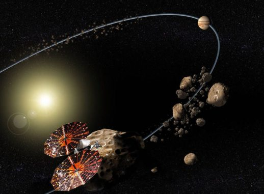 Konzeptbild der NASA-Mission Lucy zur Erforschung der Trojaner. (Credits: NASA / SwRI)