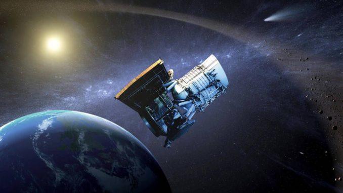 Künstlerische Darstellung des Wide-Fied Infrared Survey Explorer (WISE), der im Rahmen der NEOWISE-Mission nach erdnahen Asteroiden sucht. (Credits: NASA / JPL-Caltech)
