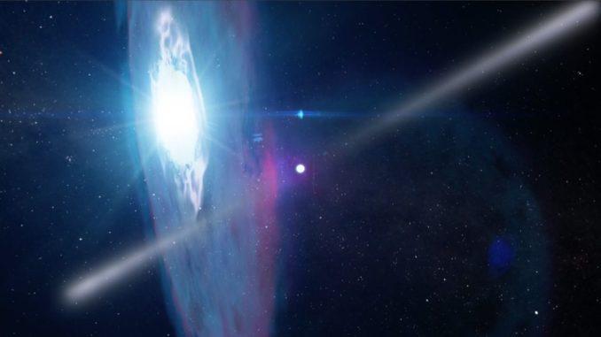 Künstlerische Darstellung des Gamma-Doppelsternsystems PSR J2032+4127/MT91 213. (Credits: Instituto de Astrofísica de Canarias)
