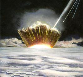 Künstlerische Darstellung eines möglichen Asteroideneinschlags in den Eisschild auf Grönland. (Credit: Carl Toft)