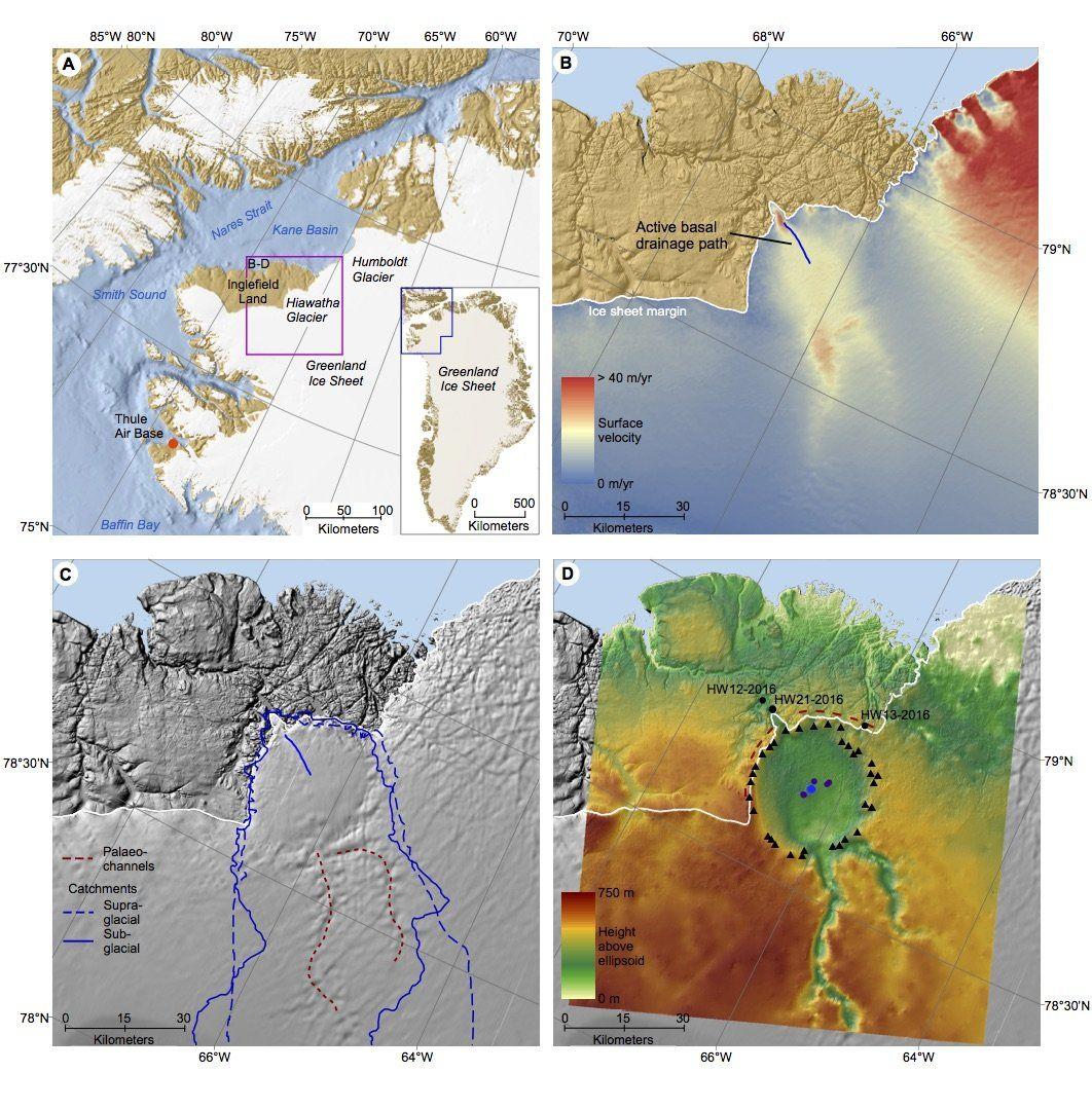 Geomorphologische und glaziologische Karten des Hiawatha-Gletschers im Nordwesten Grönlands, basierend auf den gesammelten Satelliten- und Radardaten. (Credits: University of Kansas)