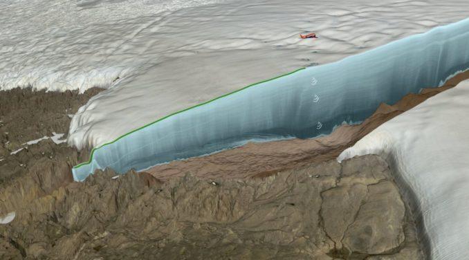 Illustration der Radardatenerhebung des unter dem Eis liegenden Geländes per Flugzeug. (Credits: NASA)