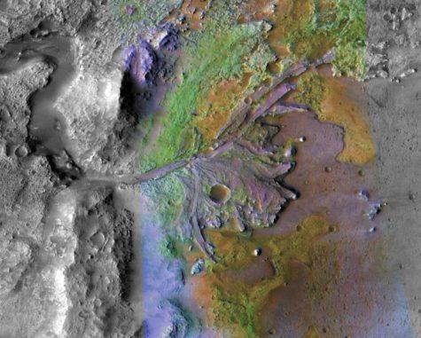 Das Deltasystem im Jezero-Krater ist das geplante Landegebiet der Mission Mars 2020, hier dargestellt anhand spektrometrischer Daten des Mars Reconnaissance Orbiter (MRO). (Credits: NASA / JPL / JHUAPL / MSSS / Brown University)