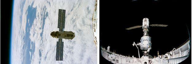 Links: Zarya, aufgenommen während der STS-88-Mission. Rechts: Die Kopplung von Zarya und Unity im Frachtraum des Space Shuttle. (Credits: NASA)