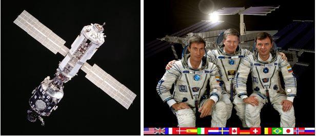 Links: Die ersten beiden Segmente der ISS, Unity Node 1 links und Zarya rechts. Rechts: Die erste Crew der ISS: Flugingenieur Sergey Krikalev, Kommandant William Shepard und Flugingenieur Yuri Gidzenko. (Credits: NASA)