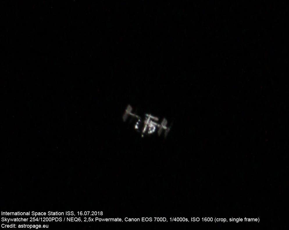 Die Internationale Raumstation ISS am 16. Juli 2018, aufgenommen mit einem Amateurteleskop. (Credits: astropage.eu)