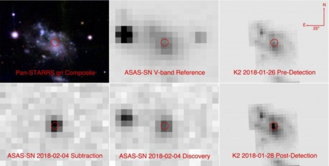 Sechs Bilder der Heimatgalaxie der Supernova ASASSN-18bt. Die obere Reihe zeigt die Galaxie vor der Explosion, die untere nach der Explosion. (Credit: The All-Sky Automated Survey for Supernovae (ASAS-SN) project, the Panoramic Survey Telescope and Rapid Response System (Pan-STARRS), and the NASA Kepler space telescope)