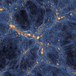 Simulation von Galaxien und Gas im Universum. Innerhalb der Gasfilamente (blau), die die Galaxien (orange) verbinden, gibt es Taschen aus unberührtem Gas. (Credits: TNG COLLABORATION)
