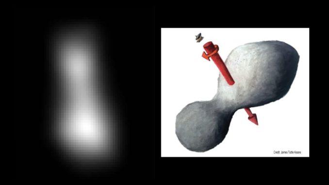 Links: Kompositbild aus zwei Bildern des Kuipergürtelobjekts Ultima Thule, aufgenommen von der Raumsonde New Horizons. Rechts: Künstlerische Darstellung des Objekts mit seiner Rotationsachse. (Credits: NASA / JHUAPL / SwRI; sketch courtesy of James Tuttle Keane)