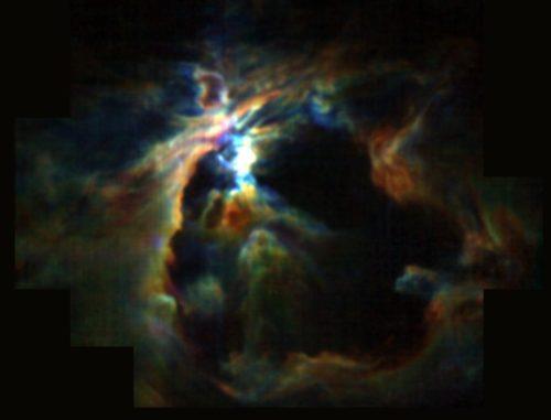 Ein junger Stern im Zentrum des Orionnebels erzeugt mit seinen Sternwinden die Blase (schwarz) und verhindert dadurch die Entstehung neuer Sterne in seiner Umgebung. (Credits: NASA / SOFIA / Pabst et. al)