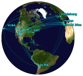 Das Global Millimeter VLBI Array (GMVA), ergänzt um ALMA. (Credit: S. Issaoun, Radboud University / D. Pesce, CfA)