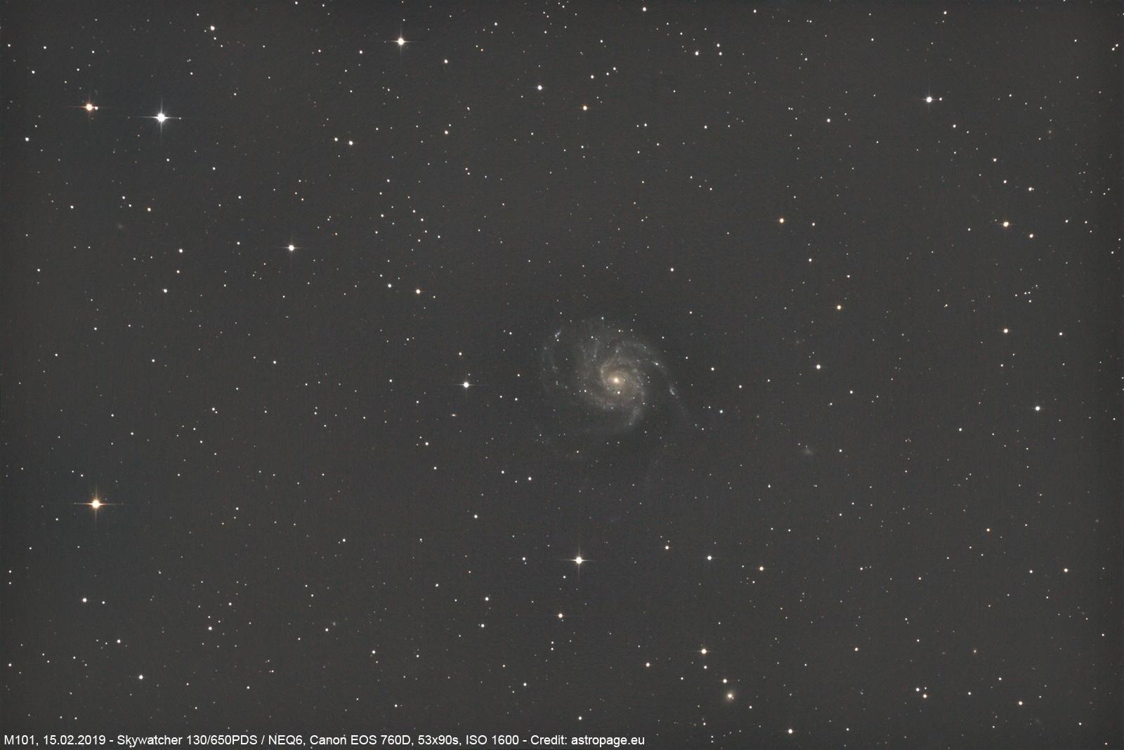 Die Feuerrad-Galaxie M101, 15.02.2019. (Credits: astropage.eu)