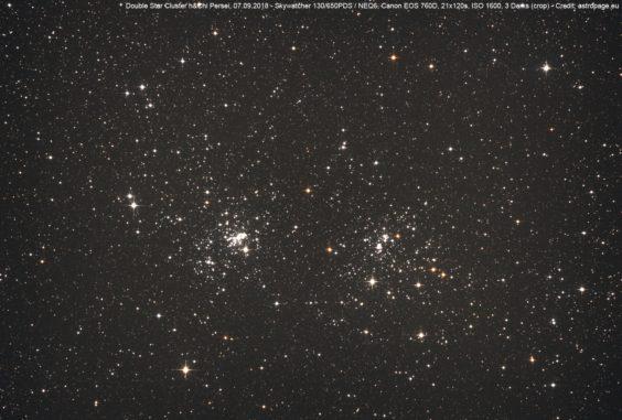 Titelbild: Der Doppel-Sternhaufen h&chi Persei. (Credits: astropage.eu)