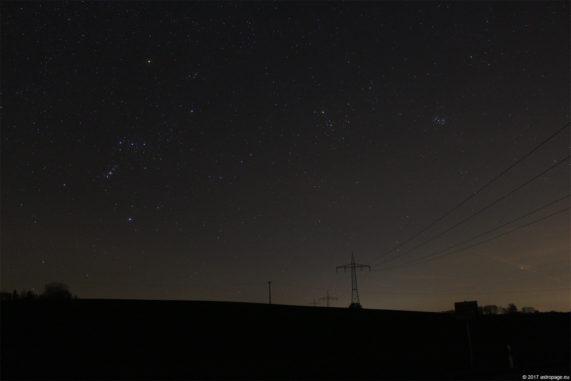 Titelbild: Die Sternbilder Orion und Stier. (Credits: astropage.eu)